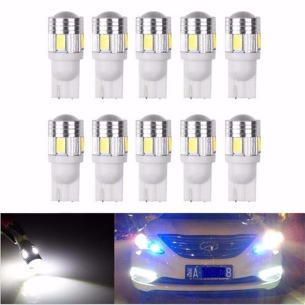 DIC 10 Pcs T10 5630 6SMD 6 SMD LED Car Wedge Light with Projector Lens Super White Car Side Marker Bulbs Light Tail Parking Lamp 2 x t10 led w5w canbus car side parking light bulbs with projector lens for mercedes benz c250 c300 e350 e550 ml550 r320 r350
