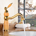 Newly Basin Faucet Gold Polished 360 Swivel Spout Brass & Jade Hot Cold Mixer Basin Tap Luxury Faucet Crane 3830K