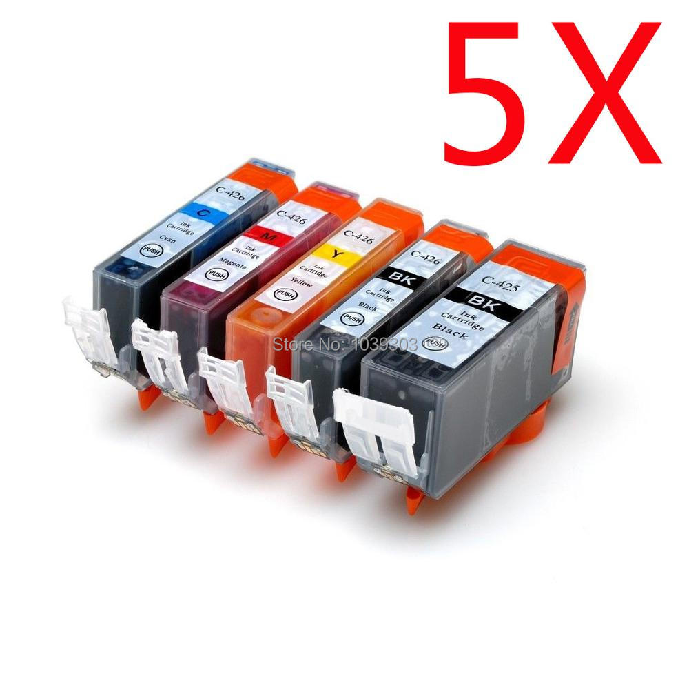 5 X Compatible ink cartridge For canon PGI 425 CLI426 PIXMA IP4840/IP4940 IX6540 MG5140/MG5240/MG5340 MX714/MX884/MX894 printer 1set pgi 425 cli 426 ink cartridge for canon pgi 425 cli426 pixma mg5240 mg5140 mg5340 ip4840 mx884 ix6540 ip4940 mg5340 mx714