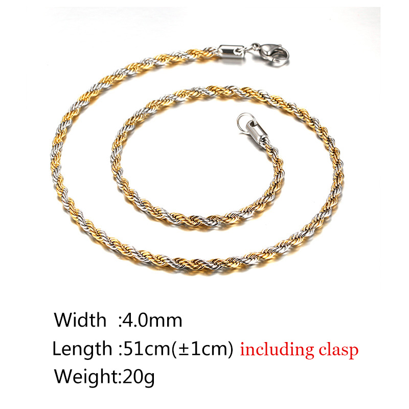 Men's Twisted Gold and Sliver Chain