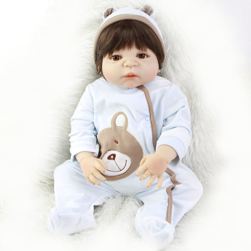 KEIUMI Full Silicone Vinyl Reborn Baby Doll 23 Inch So Truly Babies Doll with Wig Realistic Boneca Reborn Boy Model Dolls Gifts cute truly newborn doll 23 inch fashion baby toy realistic full vinyl silicone babies doll handmade gift for girl reborn boneca