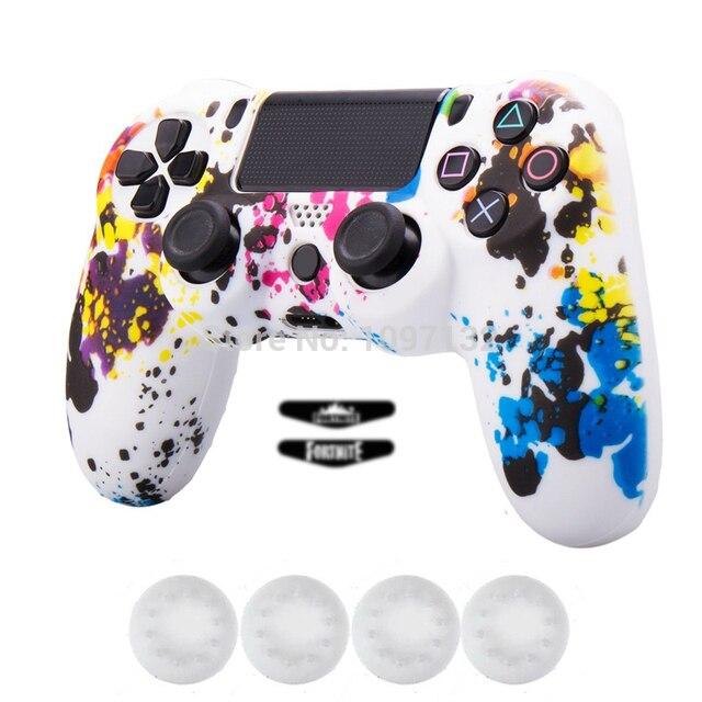 Camuflagem Protetora de Silicone Caso Capa de Pele para Sony Playstation PS4 Play Station PS 4 4 Jogo Gamepad Joystick Dualshock