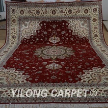 Yilong 10'x14′ handmade red and beige wool area rugs exquisite modern wool silk carpet (1506)