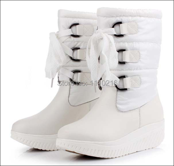 ФОТО 2015 winter new arrival genuine leather down plush warm snow boots fashion lace up high wedge platform flat heel black boots