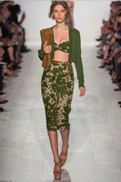 Spring Slim Women Two Piece Set V Neck Single Breasted Cardigan Sweater Knee Length Skirt Hip
