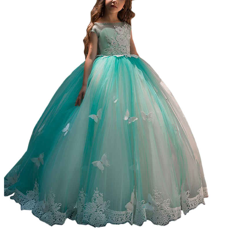 fancy little girls dresses with butterfly lace kids prom ball gown fantasia infantil para menina long