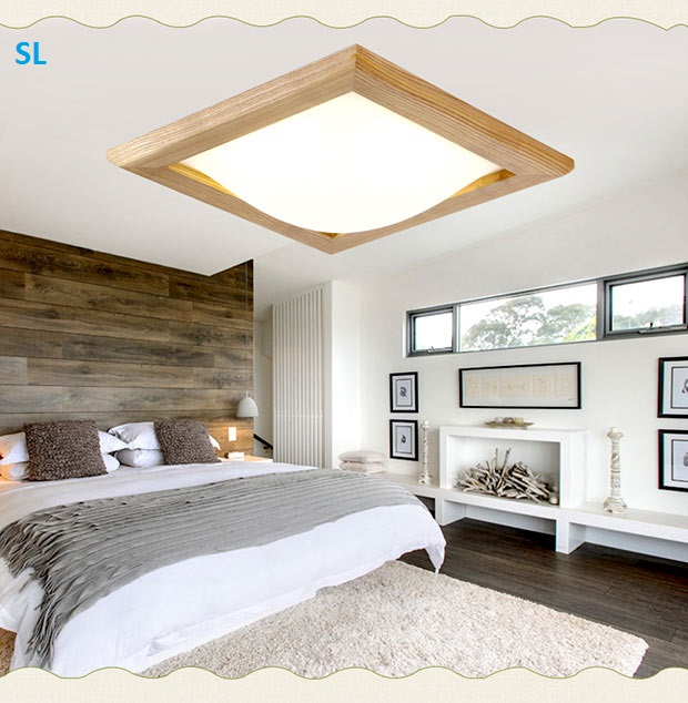 SL Led Wood Ceiling Lights Acrylic Cover Living Room Lamp 1 Head 16w 220v Japan Style