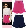 2016 Nuevas Mujeres de La Moda Primavera Verano Color Sólido OL Mini Faldas Cortas de Las Señoras Sexy Falda