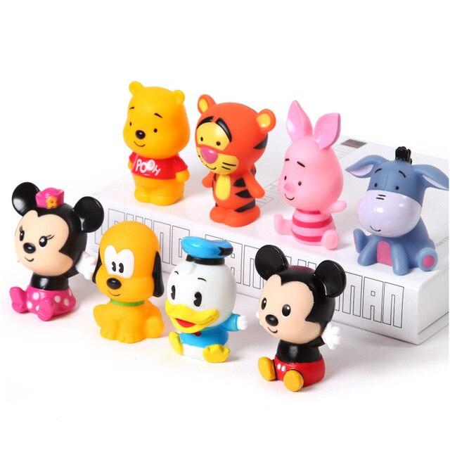 4 pçs/set Disney brinquedos de Pulverização de Água Dos Desenhos Animados de Borracha Macia Antistress brinquedo Squeeze Som presentes