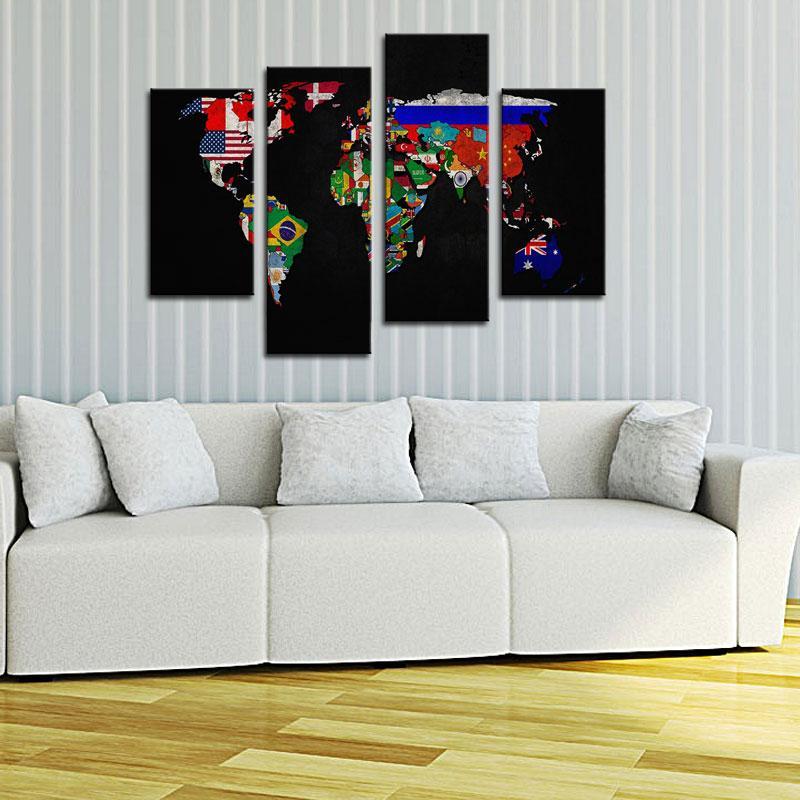 4 picture combination oil painting on canvas wall art flag in world 4 picture combination oil painting on canvas wall art flag in world map its countrys outline the picture for home decoration in painting calligraphy from gumiabroncs Choice Image
