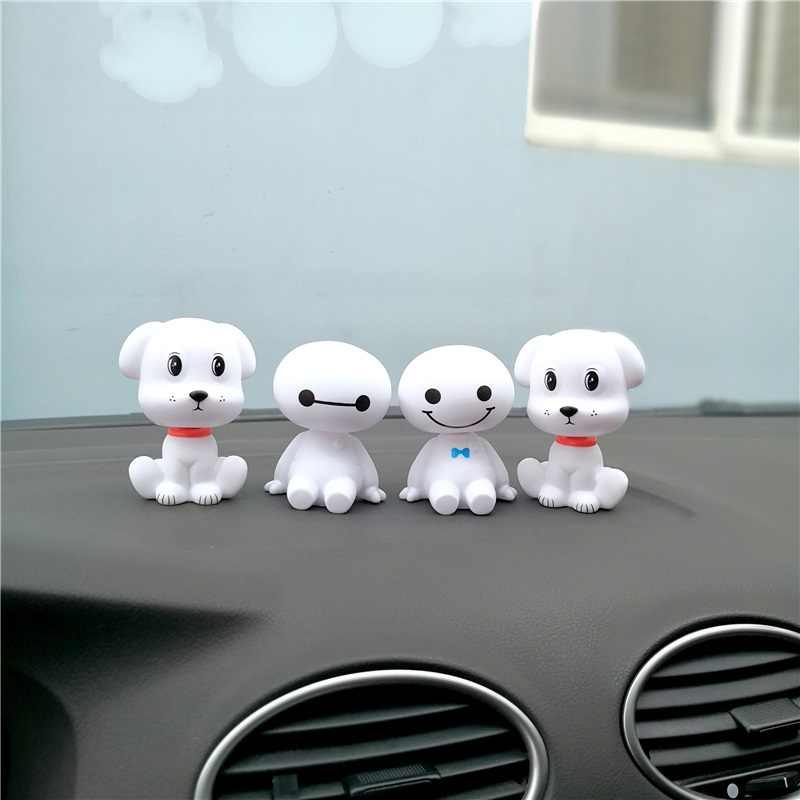 Shaking Head Doll Car Ornaments Robot Dog Big Hero Baymax Auto Decal Cute Figures Toy Decoration Puppet Cartoon Ornament Gift