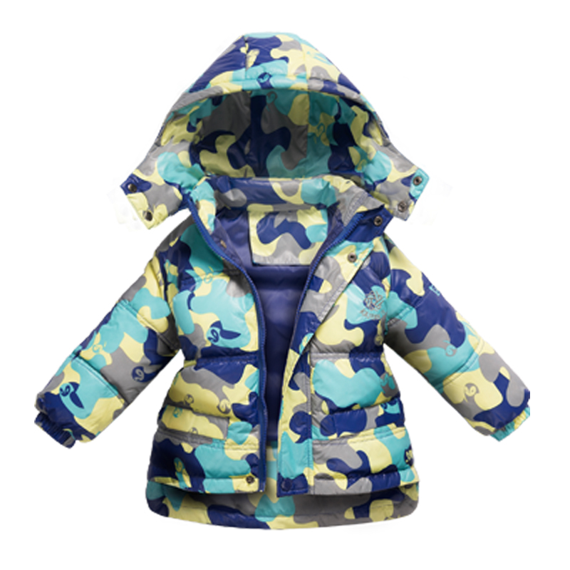 Winter Girls Boys Coat Down Jacket WindProof Children 1 to 7 Years Kids Clothing Camouflage Ski Suit Hooded Coat Thick Warm цена 2017