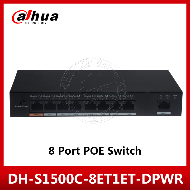 Dahua DH-S1500C-8ET1ET-DPWR With Logo PoE Switch 8CH Ethernet Power Switch Support 802.3af 802.3at POE POE+ Hi-PoE Power