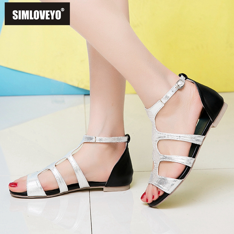 SIMLOVEYO Shos woman Ladies sandals Buckle T-strap Flat with Peep toe Gold Silver Summer Plus size 33-47 Female Casual Hot B1201