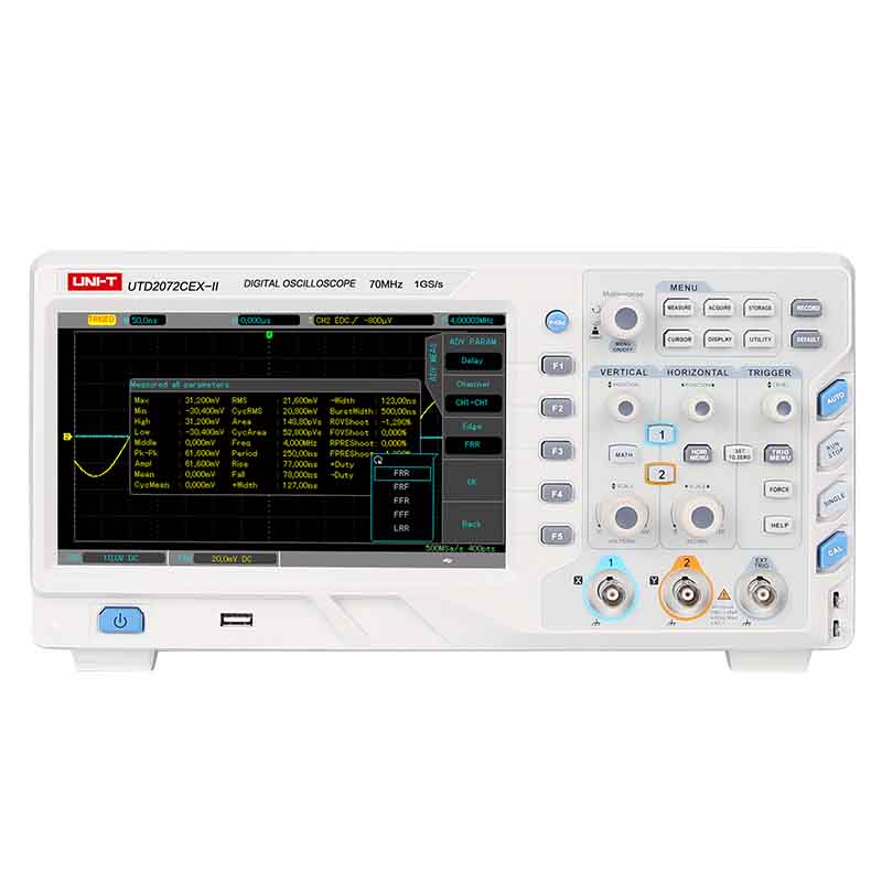 Original UNI-T UTD2102CEX-II UTD2072CEX-II Digital Storage Oscilloscope 2 Channels 70/100MHz 25kpts Memory Depth Scopemeter uni t utd2102cex digital oscilloscope 100mhz bandwidth with usb otg interface 2 channels storage portable oscilloscope