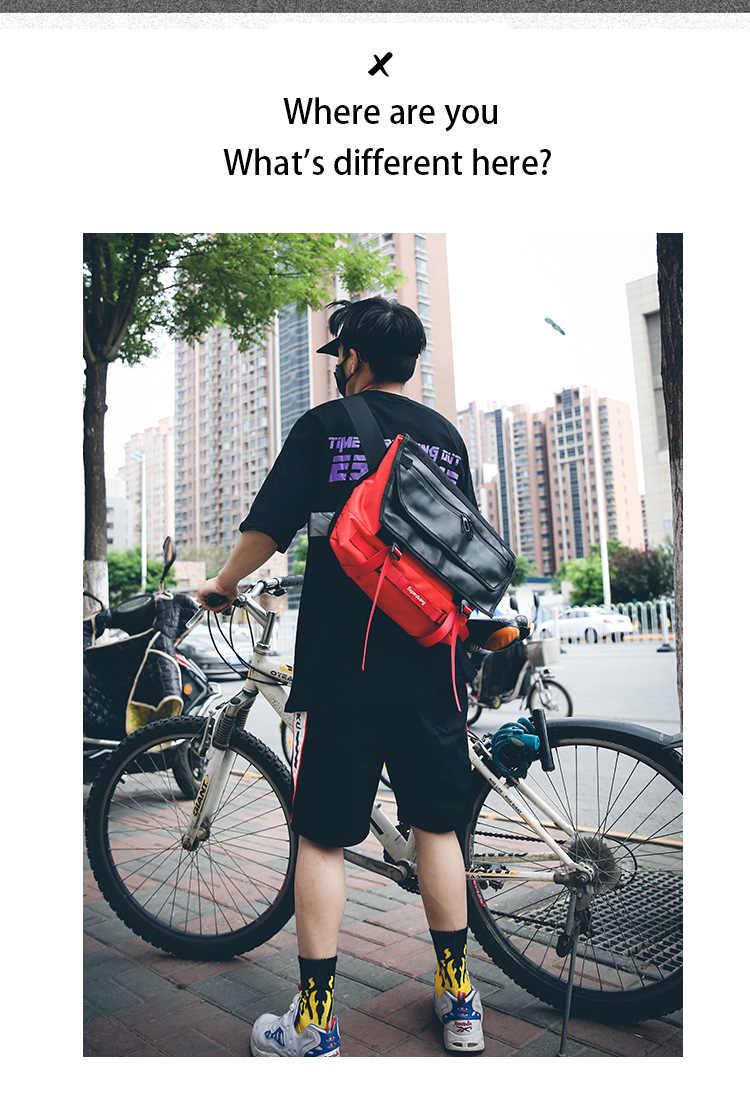 Cross body กระเป๋าขนาดใหญ่ความจุใหม่ ins super ยอดนิยมขี่กระเป๋า chic บุคลิกภาพคู่นักเรียนเย็บกระเป๋า