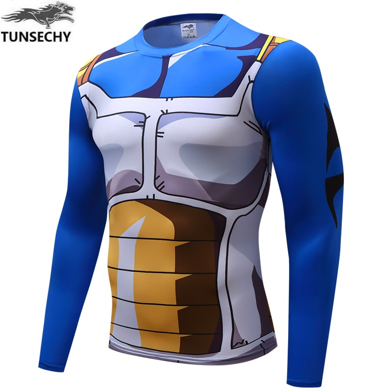 Anime Dragon Ball Z Super Saiyan Vegeta Goku   T     Shirt   Men Dragon ball Costume Cosplay Fitness under Tee   T  -  Shirts   homme