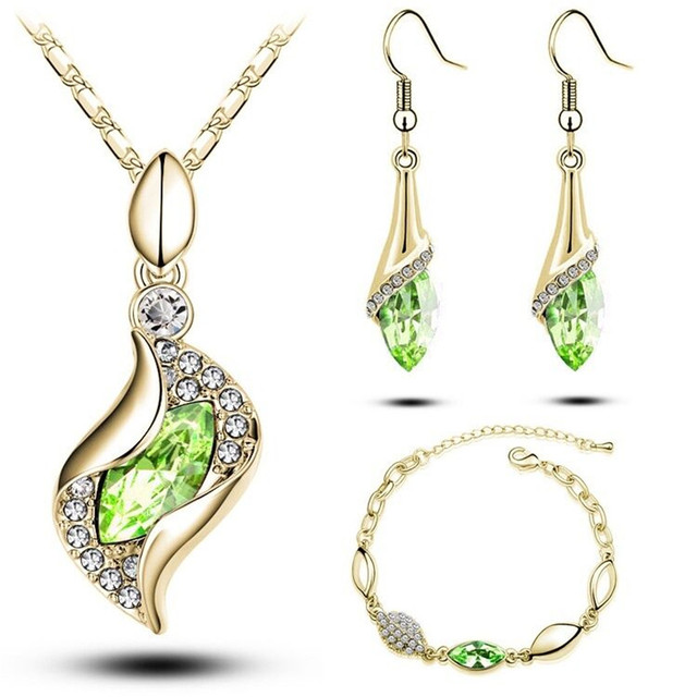 Gifts Sales MODA Elegant Luxury Design New Fashion  Gold Filled Colorful Austrian Crystal Drop Jewelry Sets Women 4
