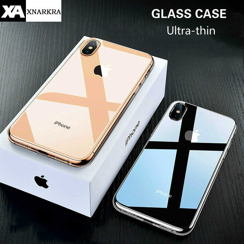 Luxury Transparent Glass Case For iPhone 7 8 6 6s Plus Ultra Thin Tempered Glass Shockproof Cover For iPhone 11 Pro XS MAX XR X