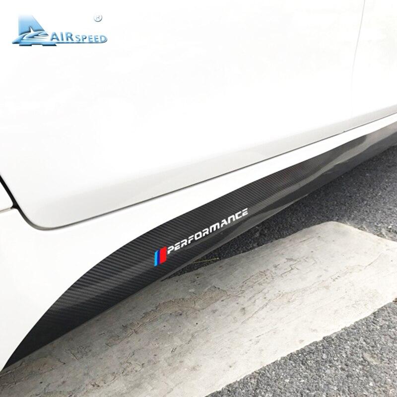 Vitesse 215 cm 5D En Fiber De Carbone Vinyle Stickers M Performance Côté Jupe Seuils De Voiture Autocollants Pour BMW G30 F10 F11 f07 E60 F30 E90 M3