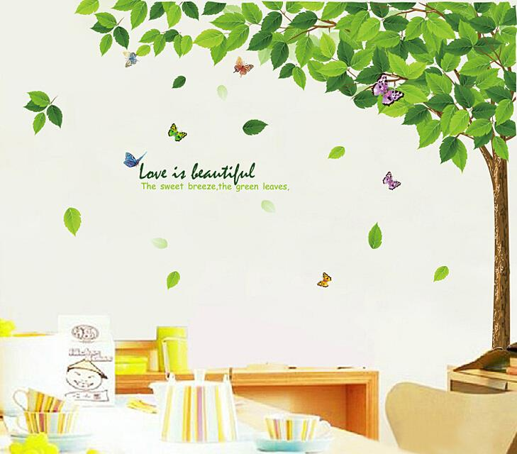 The Green Leaves Art Big Tree Butterfly Wall Stickers Home Decor Mural  Wedding Decoration Glass Door Buatiful Decals In Wall Stickers From Home U0026  Garden On ...