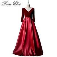 Vestido De Festa Evening Dress Long Sleeves V Neck Satin Formal Party Gowns 2018 Burgundy Prom