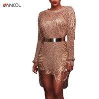 Vancol 2017 New Arrival O Neck Long Sleeve Dress Silver Mini Party Bodycon Dress Gold Metallic