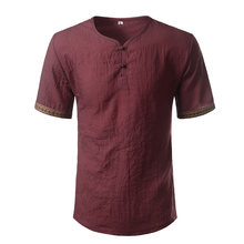 Cotton Linen Shirt Men 2017 Brand Short Sleeve Mens Henley Shirt