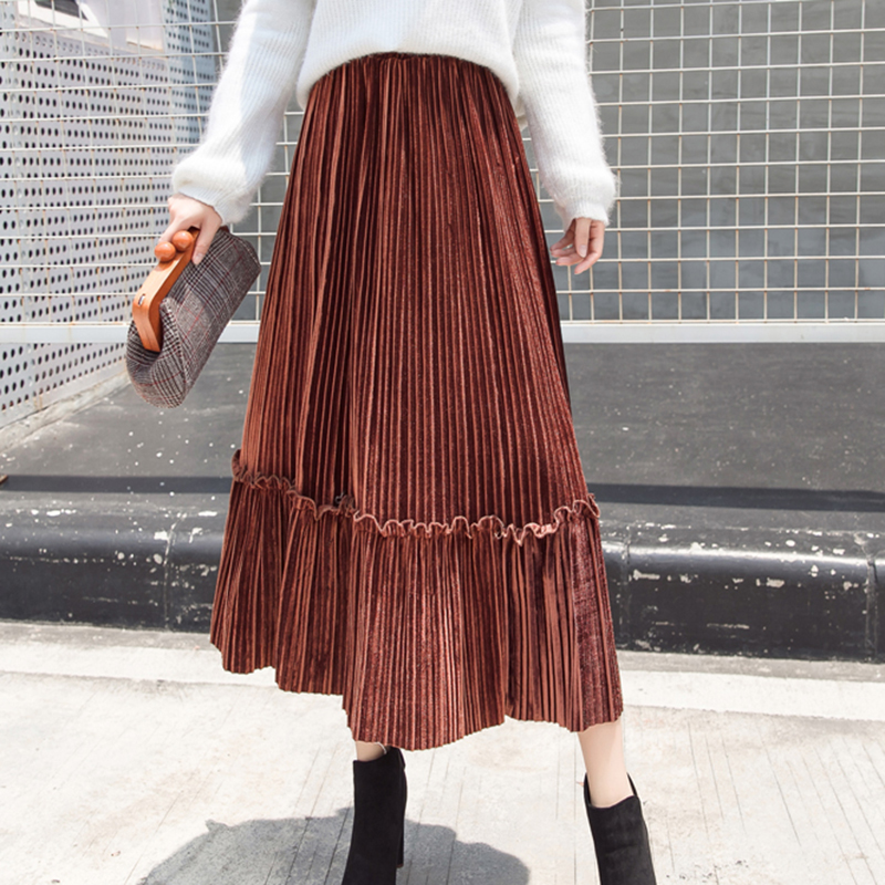 Gkfnmt Velvet Pleated Skirt Women Vintage Long Skirts Black Womens 2018 Winter Autumn Female High Waist Faldas Saia Mid Gorgeous