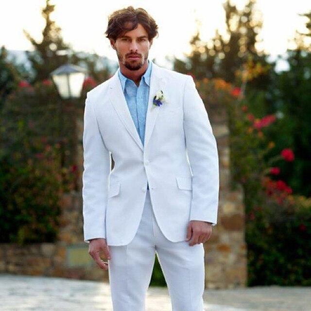 584ff4ee576 2017 White 2buttons Blazer Men Suits Slim Fit Summer Beach Wedding
