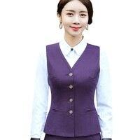 Autumn Women's purple suit ladies vest work wear uniforms Slim V Neck Formal jackets women office vests coat plus size tops