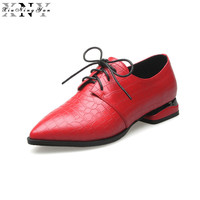 XIUNINGYAN Female Popular Square Oxfords Women British Style Pointed Toe Brogue Shoes Women's Real Leather Flats Autumn Shoes 15