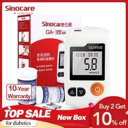 الإنجليزية دليل Sinocare GA-3 جهاز قياس السكر بالدم و اختبار شرائط و المشارط Glm الطبية الدم السكر متر غلوكمتر السكري اختبار