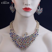 CHRAN Exquisite Austrian Crystal Wedding Jewelry Set for Women Wholesale Gold Color Peacock Design Costume Bridal Jewelry Set