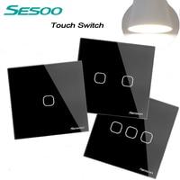 SESOO EU UK Standard Touch Switch Crystal Glass Panel Black Fireproof Wall Light Switch 1 2