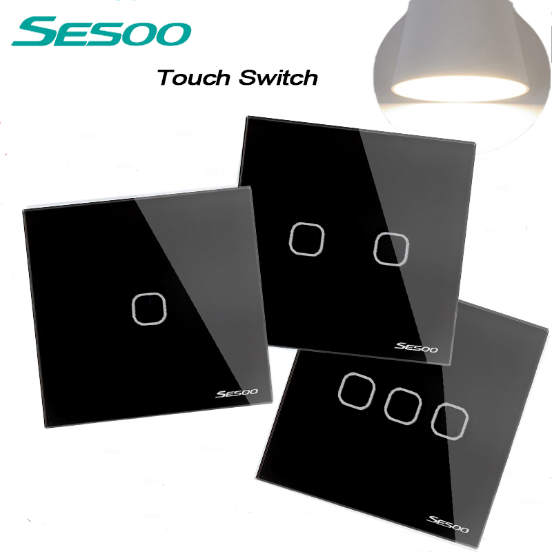 SESOO EU/UK Standard Touch Switch Crystal Glass Panel Black Fireproof Wall Light Switch 1,2,3Gang 1 Way For Smart Home eu uk standard sesoo remote control switch 3 gang 1 way crystal glass switch panel wall light touch switch led blue indicator