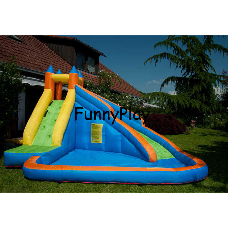 inflatable slide bouncer with pool for kids,newest and hot sale home use jumping castles inflatable water slide,pool slides commercial sea inflatable blue water slide with pool and arch for kids