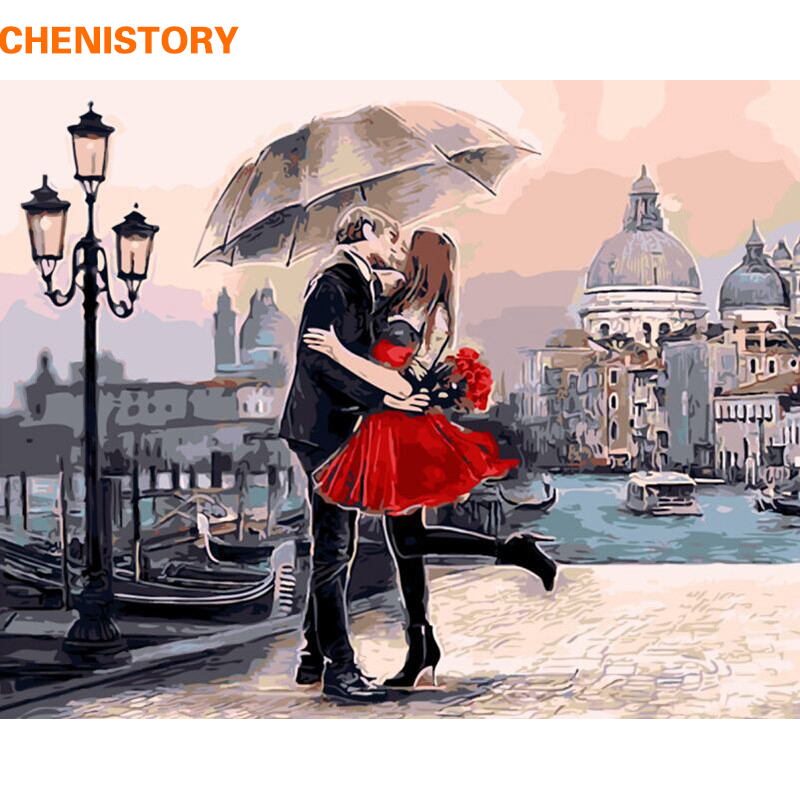 Framed Romantic Kiss Lover DIY Painting By Numbers Landscape Acrylic Picture Wall Art Hand Painted Oil Painting For Home Decor