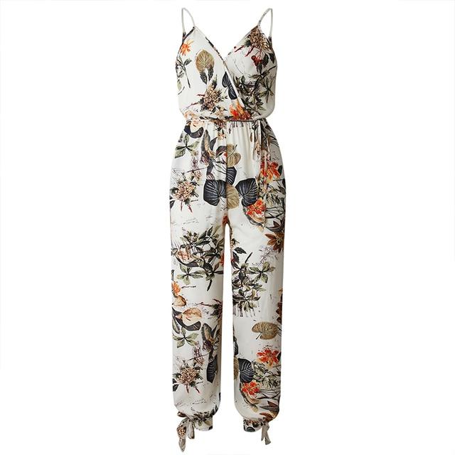UZZDSS V צוואר סקסי Bodysuits נשים עם חגורת גוף Femme Rompers Feminino פרחוני Playsuit סרבל הדפסת אביב קיץ סרבל