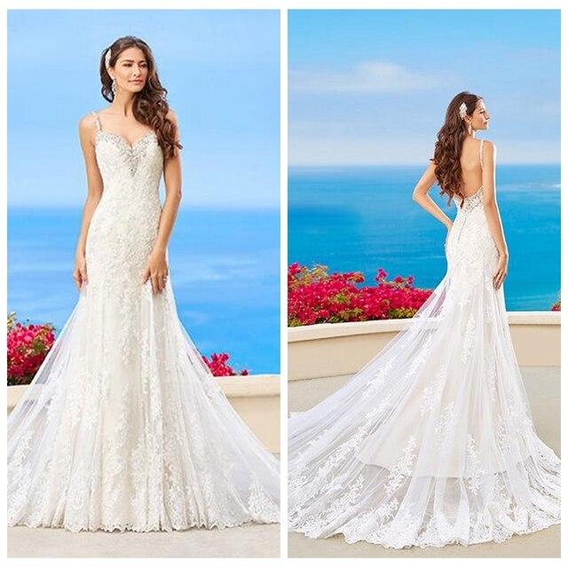 tiras de espagueti vestido de novia sirena apliques de encaje sin
