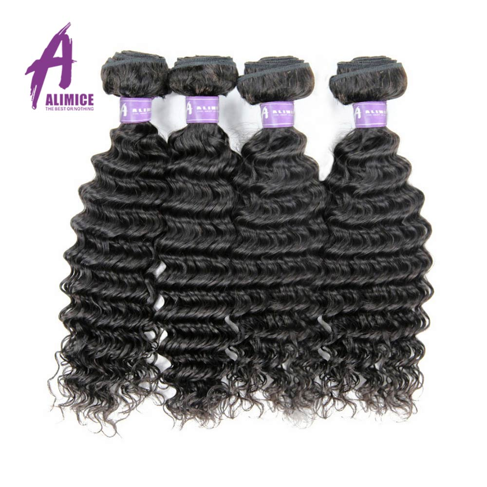 Brazilian Deep Wave Human Hair Weave 4 Bundles Deal 100% Human Hair Weft Extensions Hair Weaving Bundles Alimice Non Remy Hair