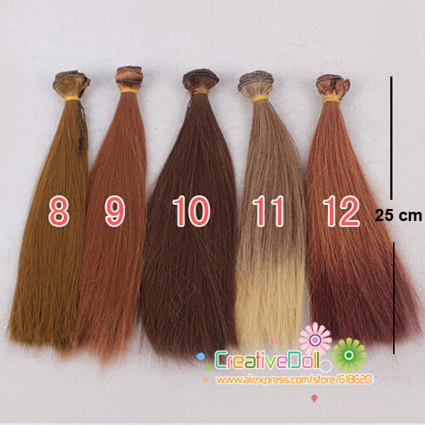 free shipping 25cm straight long wigs for BJD SD dolll long hair BJD diy accessory wigs wholesales fashion long hair wigs mix color