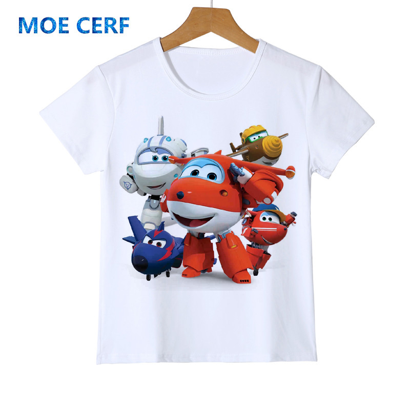 Boy Tops Tshirt Short-Sleeved Airplane Super-Wings Girl Cartoon Summer for Kid Camiseta