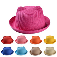 цены Sale Women Girls Cute Cat Ears Summer Hats Beach Straw Hat Fashion Sun Hats