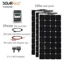 Solarparts 3*100 w panel de soalr flexibles 300 w sistema solar celular EPsolar controlador 20A cable solar MC4 con conector para el barco/RV