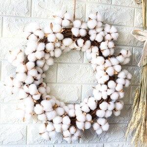 Image 4 - Couronne de fleurs sèches en coton vraies, décoration pour couronne de noël en rotin faite main, pour fêtes, Festival, mariage, pour maison, D19 pouces