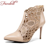 FACNDINLL New Sexy Thick High Heels Pointed Toe Shoes Woman Ankle Boots Genuine Leather Women Black