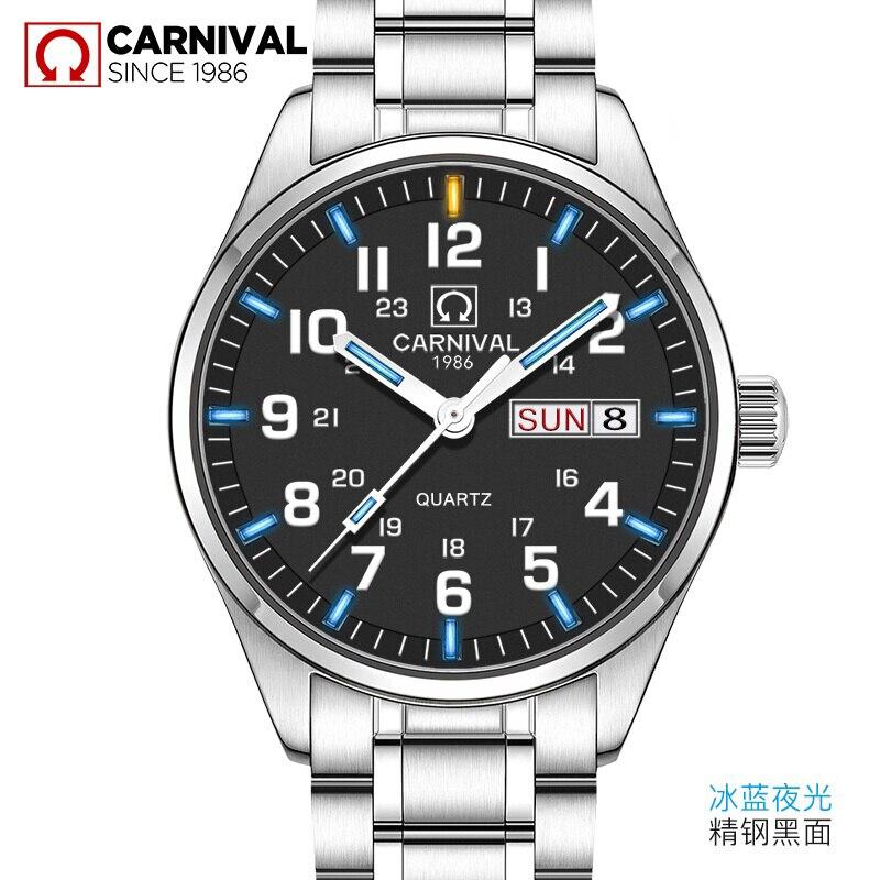 Carnival Luxury Brand Watch Men Quartz Men Watches Tritium Light Luminous Watch Male Waterproof Military reloj hombre C8638-5