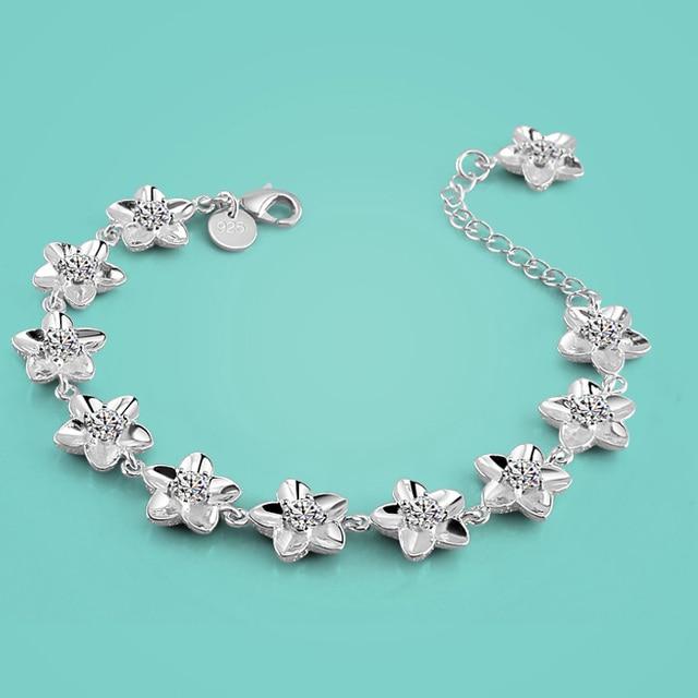 e52a22addd7 925 sterling silver bracelet female elegant flower design solid silver  bracelet lady popular zircon bracelet Valentine's Day