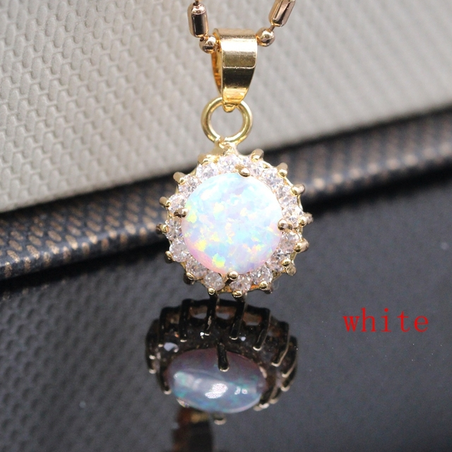 Beautiful Real Champagne Gold Plated Round AAA Cubic Zircon 5 Colors 12x12mm Fire Opal Necklace Pendant